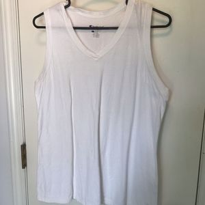 V-Neck White Tank Top